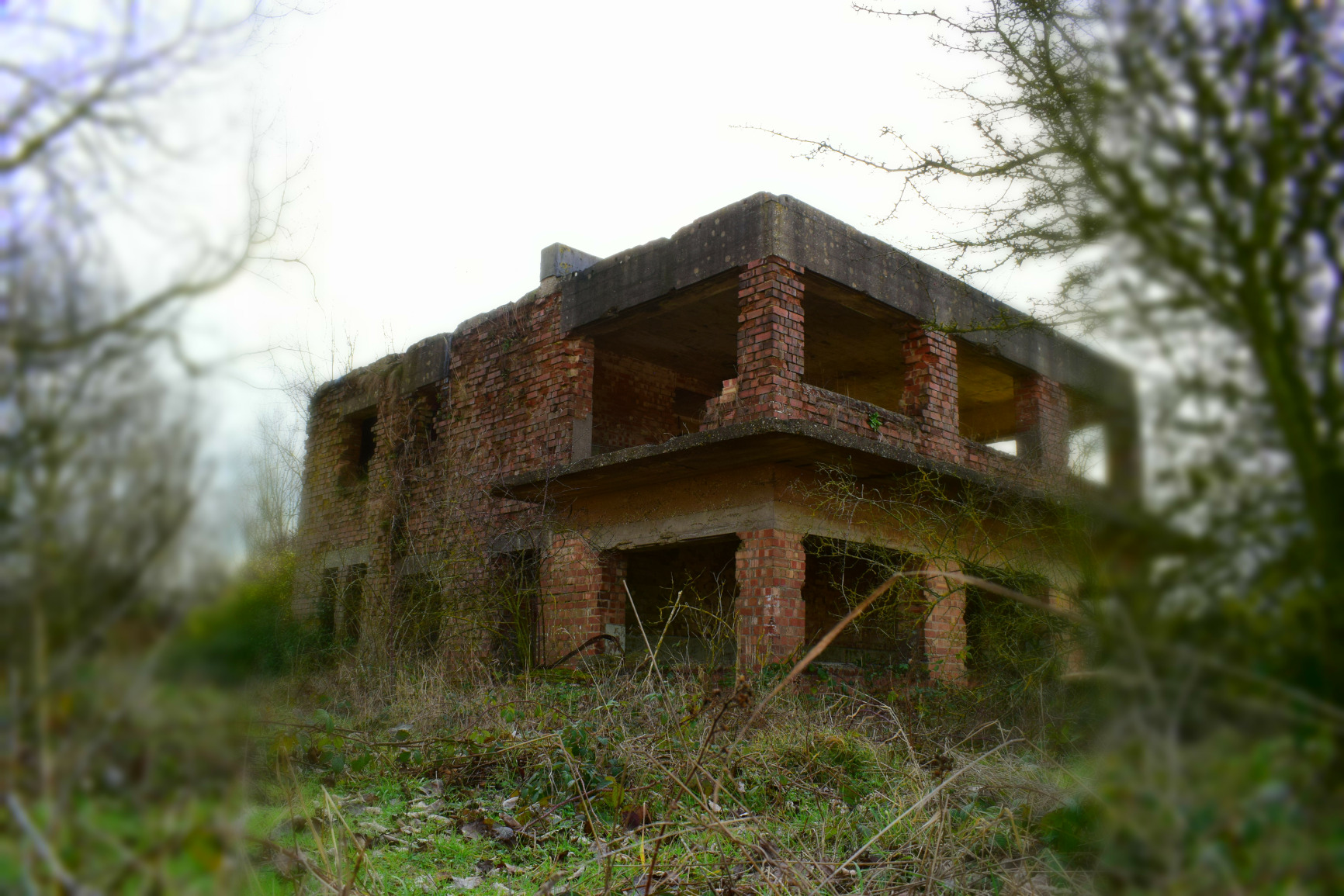 RAF Kings Cliffe control tower up close.